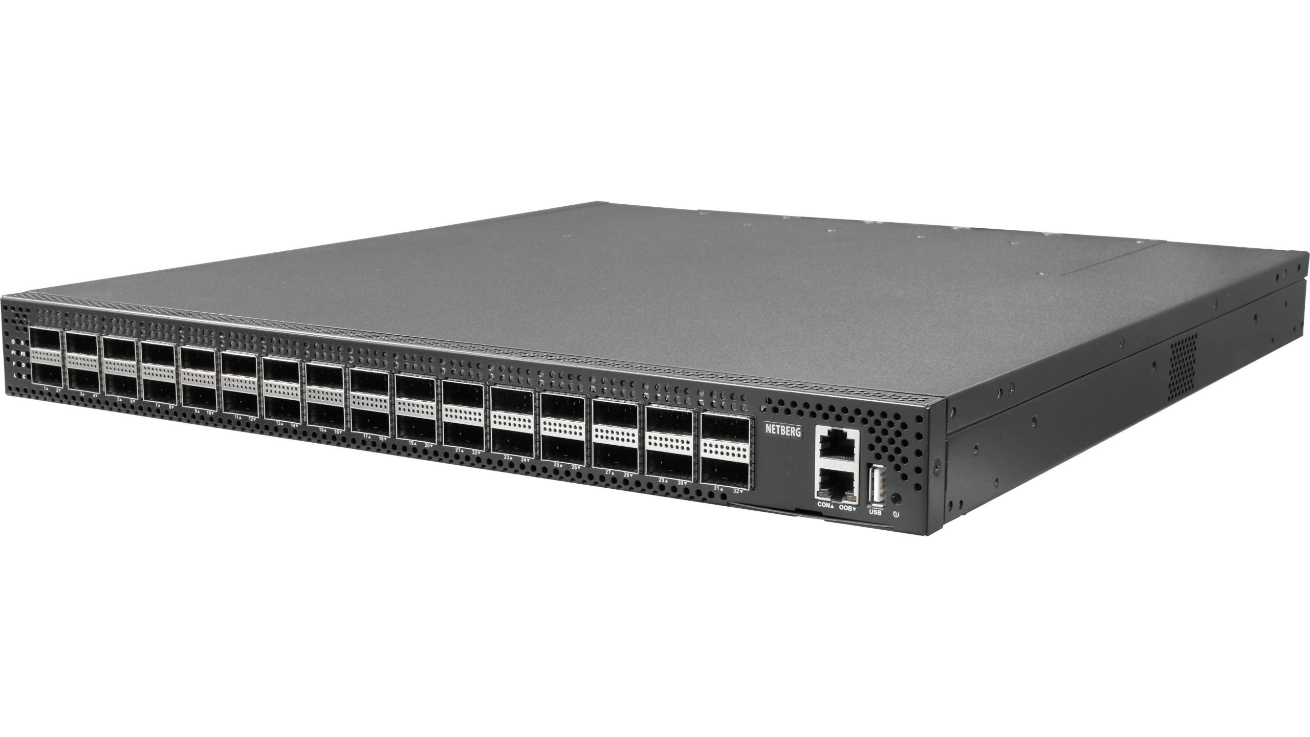 Netberg Aurora 715 100G BM switch preloaded with ONIE front angled view