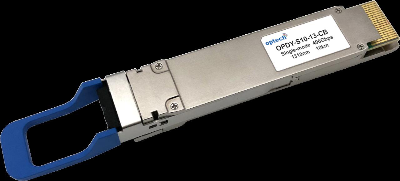 Optech QSFP-DD 400G LR4 10km SMF Optical Transceiver Module (OPDY-S10-13-CBE)