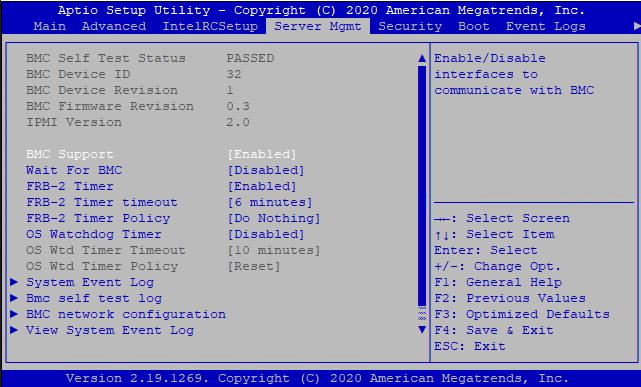 BMC settings in BIOS